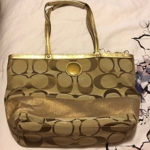 Coach gold & beige bag